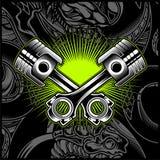 Emblema blanco y negro del pist?n cruzado de la motocicleta, logotipos, insignia - vector libre illustration