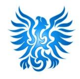 Emblema blu della fiamma dell'aquila Fotografie Stock