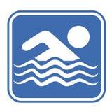 Emblema blu di nuoto Fotografie Stock Libere da Diritti