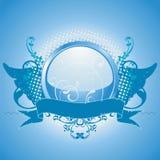 Emblema blu, elemento di disegno Immagini Stock