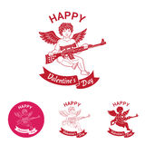 Emblema cómico del día de tarjeta del día de San Valentín ilustración del vector