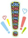 Emblema chistoso con palabra y x22; love& x22; Foto de archivo