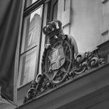 Emblema cinzelado de madeira fotografia de stock