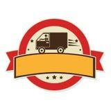 Emblema circolare con il nastro ed il furgone Immagini Stock Libere da Diritti