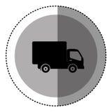 emblema circolare monocromatico dell'autoadesivo con l'icona del camion Fotografia Stock