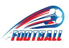 Emblema coloreado del vector para el mundial 2018 del fútbol con la bandera rusa Fotos de archivo