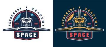 Emblema colorido de la academia del astronauta del vintage ilustración del vector