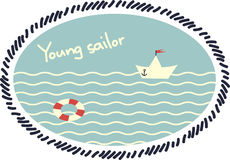 Emblema com um barco de papel Fotografia de Stock