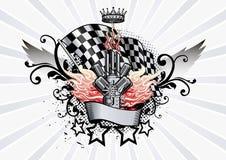 Emblema con alas que compite con el motor y las llamas libre illustration