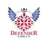 Emblema con alas victoriano compuesto usando la flor del lirio, la corona del monarca y las estrellas pentagonales Elemento real  stock de ilustración