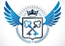 Emblema con alas vintage creado en diseño heráldico del vector y los comp ilustración del vector