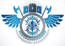 Emblema con clase con alas, escudo de armas heráldico del vector compuesto usando castillo medieval ilustración del vector