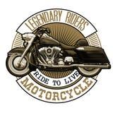Emblema con la motocicleta del vintage Illustra realista arriba detallado Imagenes de archivo