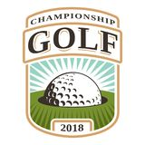 Emblema con la pelota de golf en agujero Foto de archivo