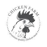 Emblema con la testa del pollo Immagini Stock
