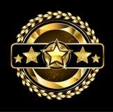 Emblema con las estrellas de oro ilustración del vector