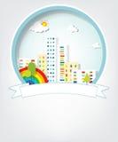 Emblema con paesaggio urbano Fotografie Stock