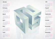 emblema 2015 con programma del calendario Fotografie Stock Libere da Diritti