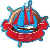 Emblema con símbolos marinos y el velero stock de ilustración