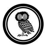 Emblema con un búho Imagenes de archivo