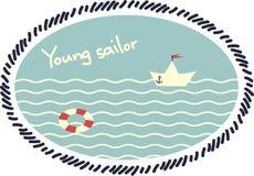 Emblema con un barco de papel Fotografía de archivo