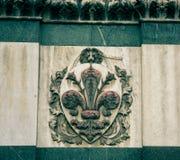 Emblema con un leone Immagine Stock