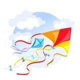 Emblema con una cometa y las nubes Fotos de archivo libres de regalías