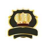Emblema con una corona. Fotos de archivo