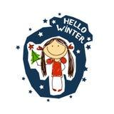 Emblema con una muchacha de la diversión Días de fiesta de la Navidad Fotos de archivo libres de regalías