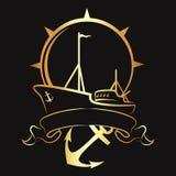 Emblema con una nave e un'ancora Fotografia Stock