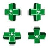 Emblema cruzado médico verde Foto de archivo libre de regalías