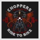 Emblema d'annata del club del motore del garage del motociclo con la ragazza sexy Immagine Stock Libera da Diritti