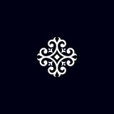 Emblema d'annata del fiore Fotografie Stock