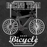 Emblema da bicicleta com elementos do grunge ilustração royalty free