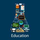 Emblema da educação na forma da garrafa química Imagem de Stock