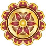Emblema da flor com os pedais no ouro, ioga Foto de Stock Royalty Free