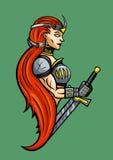 Emblema da menina do guerreiro ilustração stock