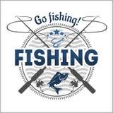 Emblema da pesca, crachá e elementos do projeto Imagens de Stock