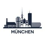 Emblema da skyline de Munich Fotografia de Stock Royalty Free