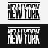 Emblema da tipografia do desgaste do esporte de Brooklyn, gráficos do selo do t-shirt Fotografia de Stock Royalty Free