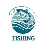 Emblema de color salmón de la pesca Fotografía de archivo