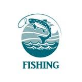 Emblema de color salmón de la pesca Imagenes de archivo