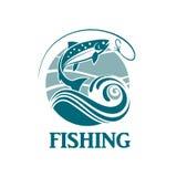 Emblema de color salmón de la pesca Fotos de archivo libres de regalías