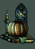Emblema de Dia das Bruxas com uma abóbora um a vela um livro e uma janela ilustração royalty free