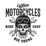 Emblema de encargo del vintage de las motocicletas con el cráneo ilustración del vector