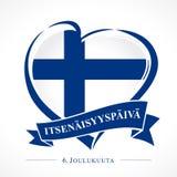 Emblema de Finlandia do amor com coração na bandeira nacional e no texto finlandês: Dia da Independência o 6 de dezembro ilustração royalty free