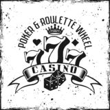 Emblema de jogo do vetor do casino no fundo do grunge imagens de stock