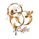Emblema de la acuarela con las manchas del café Imagen de archivo