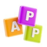Emblema de la aplicación como símbolo del app del cubo Fotos de archivo
