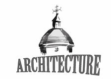 Emblema de la arquitectura del viejo horario de la iglesia de la ciudad para el texto Foto de archivo